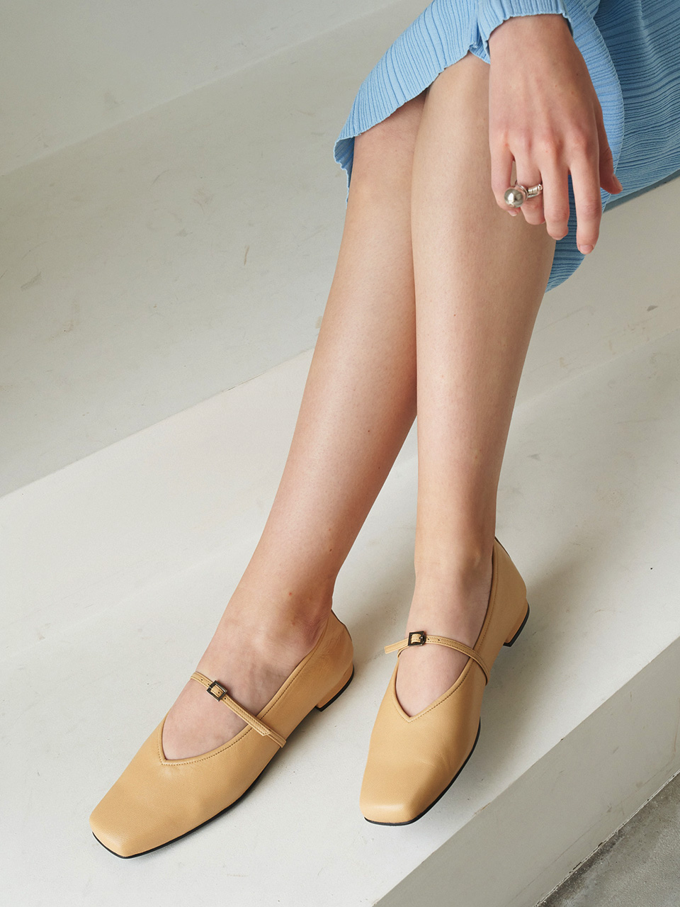 Mrc071 3Way Strap Flat Shoes (Butter Yellow)